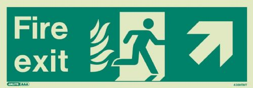 (438HTM) Jalite NHS Estates Fire Exit Up Right Sign